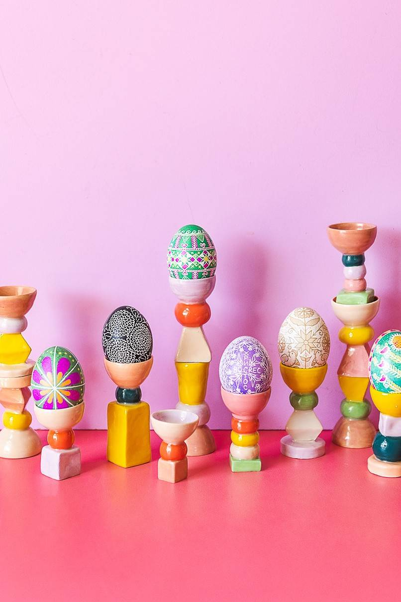 Colorful eggs on stands