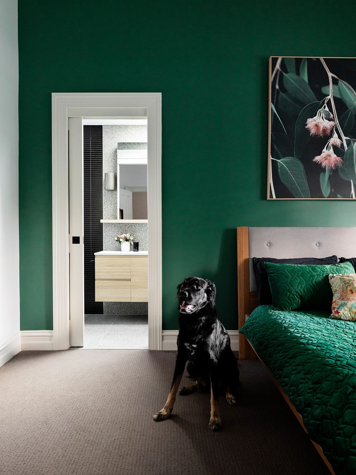 Contemporary bedroom in deep green with white accents feels refreshing and urbane