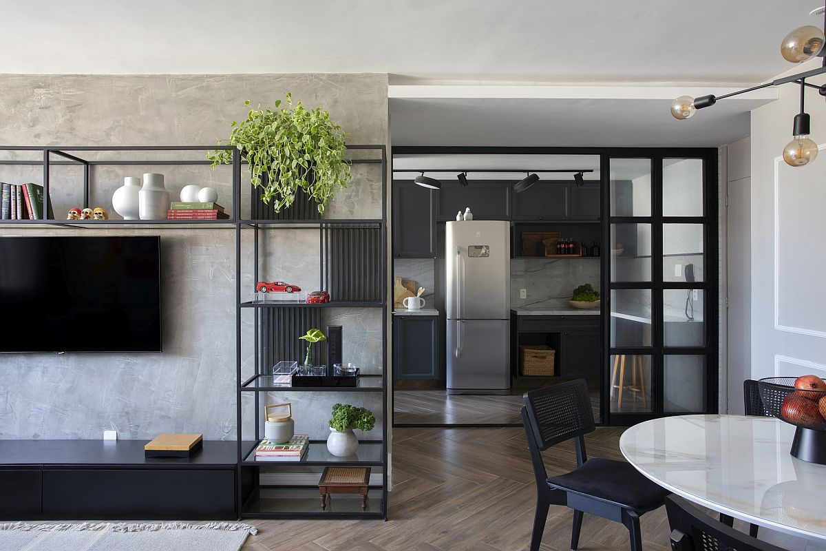 Contemporary ease is combined with industrial touches inside the smart apartment makeover