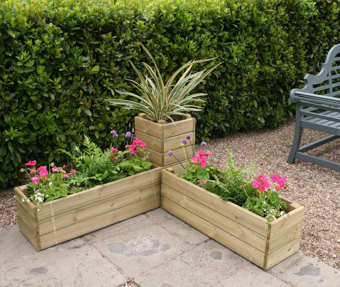 corner planter made with wood