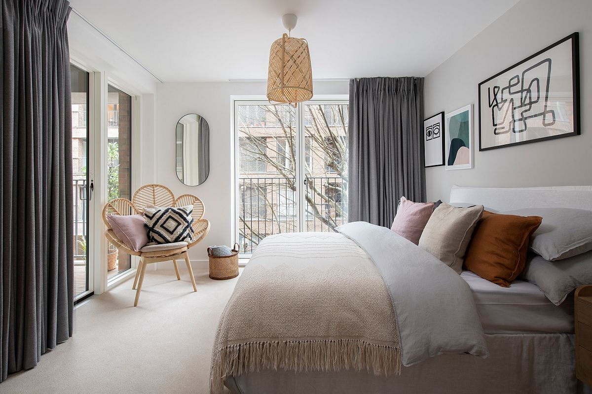 Create a relaxing and refreeshing bedroom with modern Scandinavian style in the bedroom