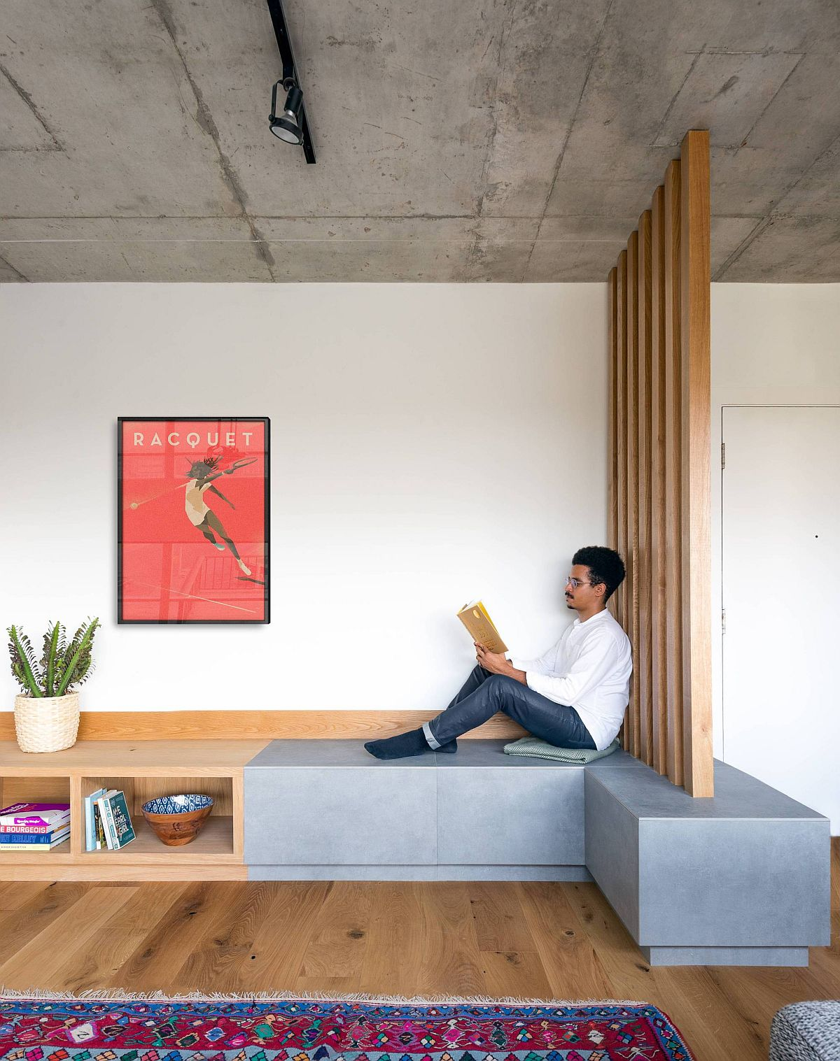 Curated custom bench for the living room with built-in storage options