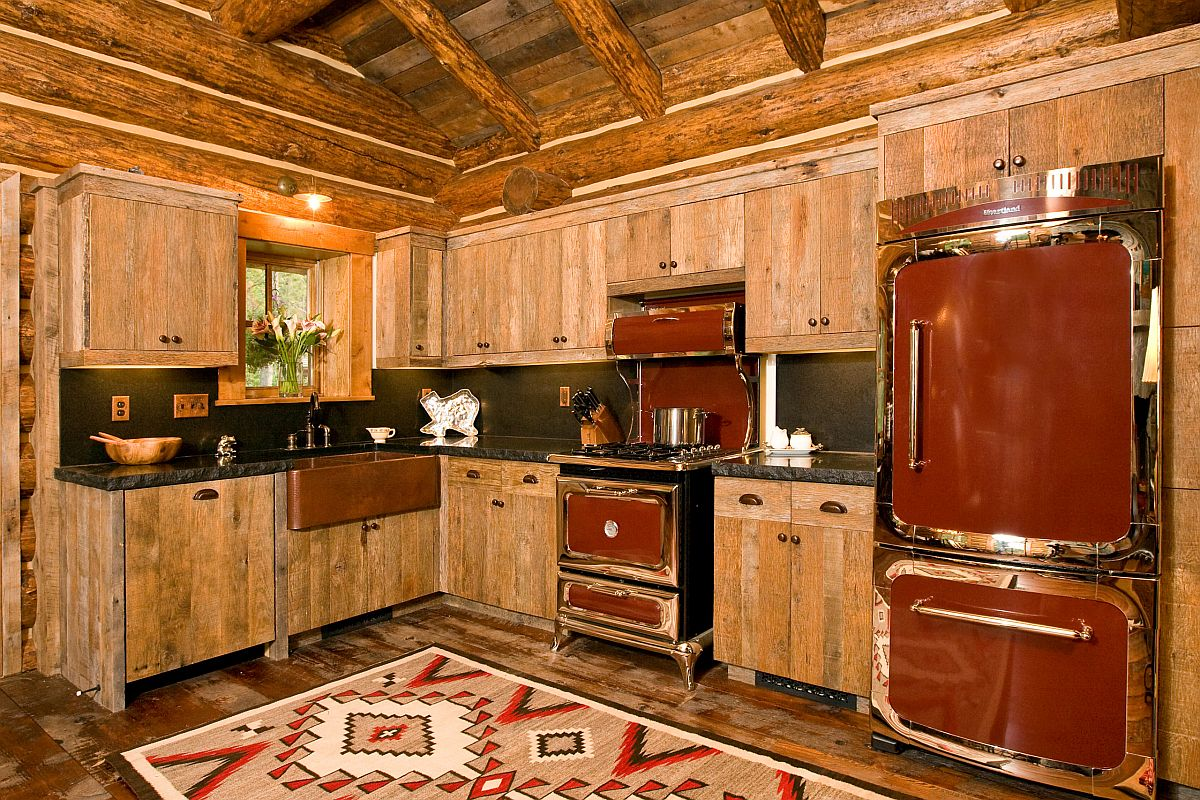 Custom range and sink in the kitchen add to its inimtable rustic appeal