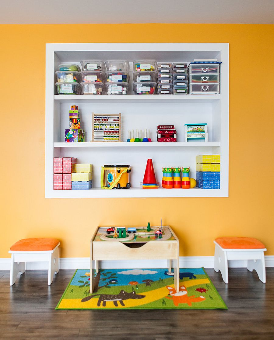 Custom shelves in the wall allow you to maximize the space in the kids' room while storing the toys