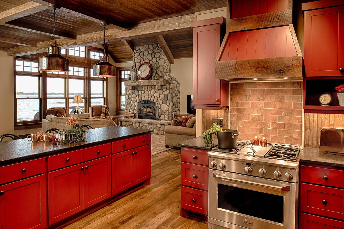 Dashing kitchen with smart red islands and stone countertops