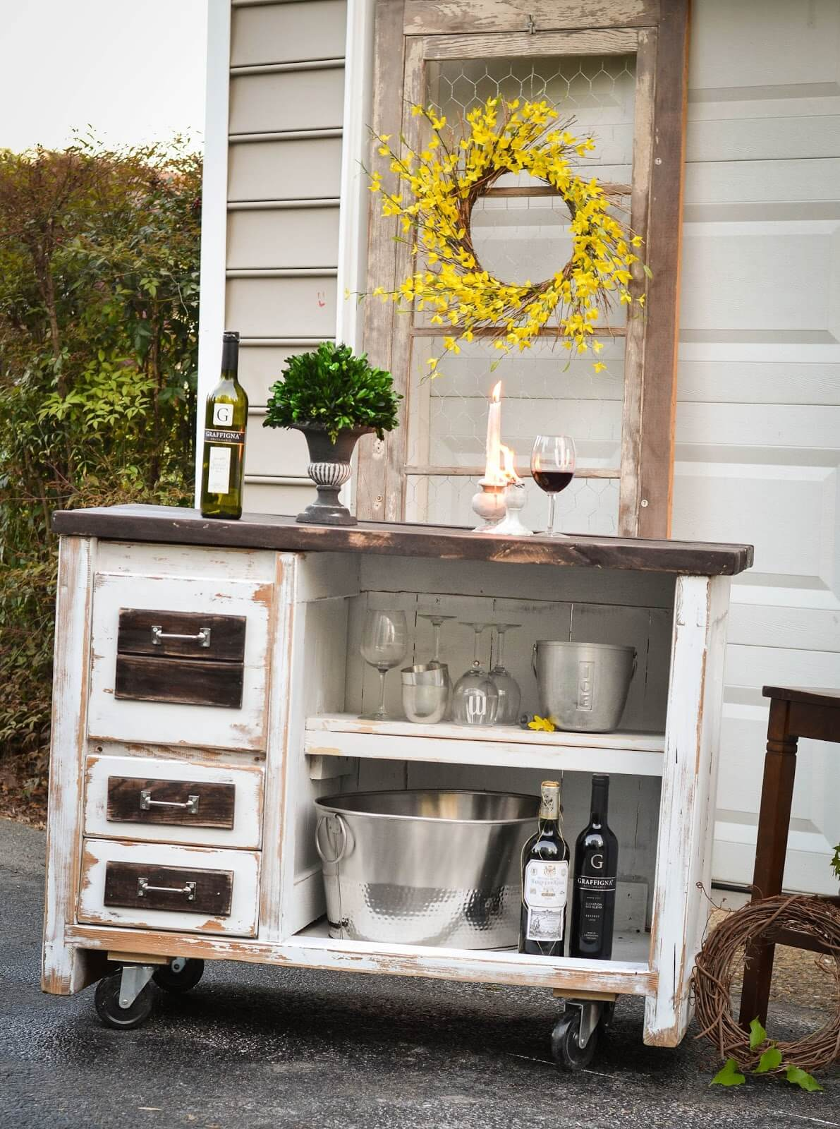 Desk Repurposed to Island Bar with Wheels