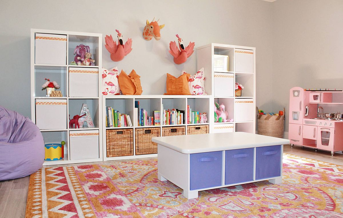 Eclectic kids room with brilliant infusion of color and a neutral backdrop