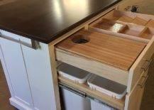 Empty kitchen island in a workshop