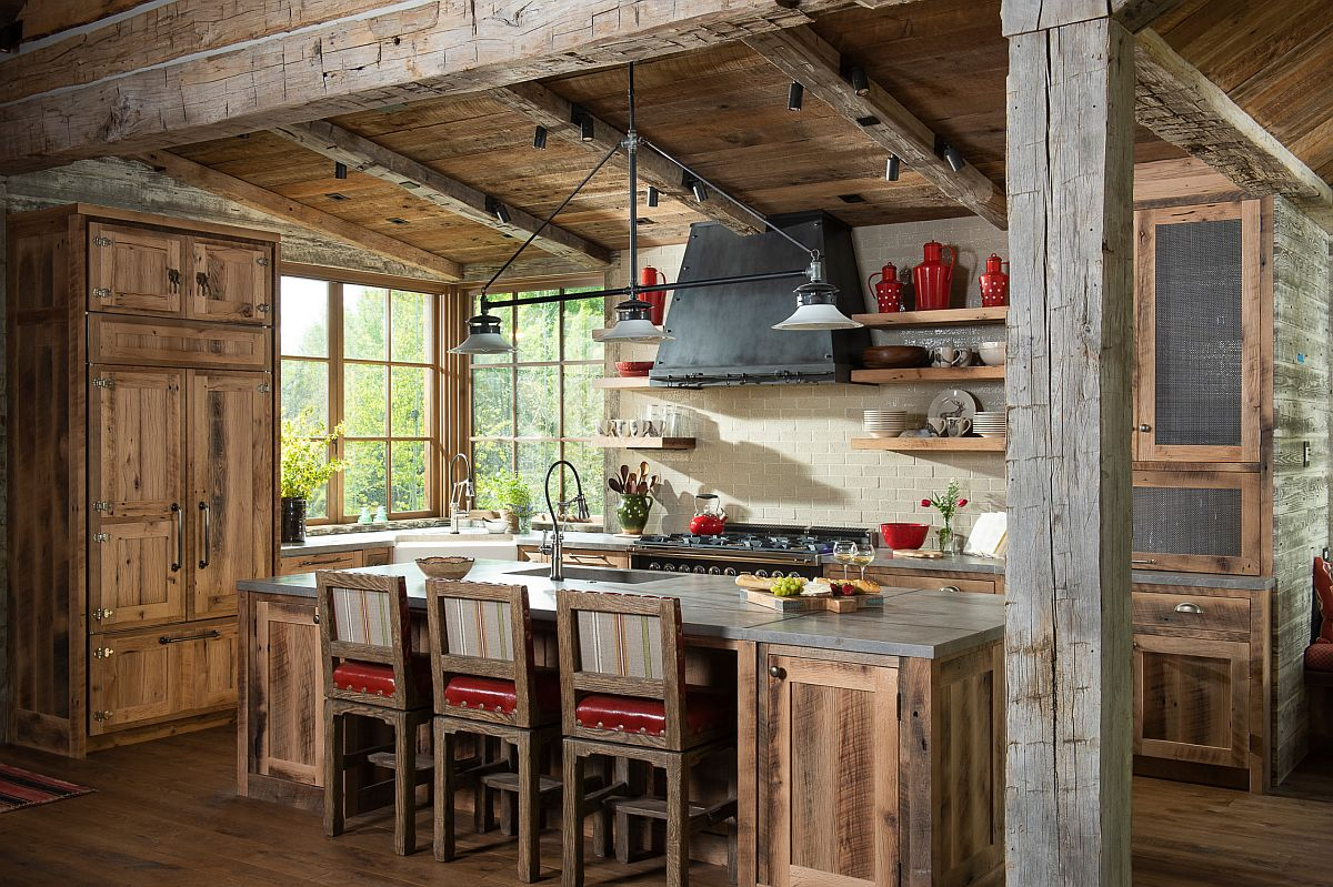 Fabulous rustic kitchen with wooden cabinets, weathered finishes and pops of red