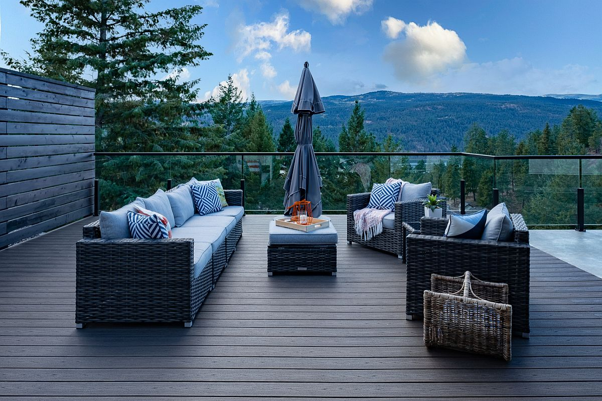 Fabulous wooden deck with comfortable seating makes most of the amazing view on offer