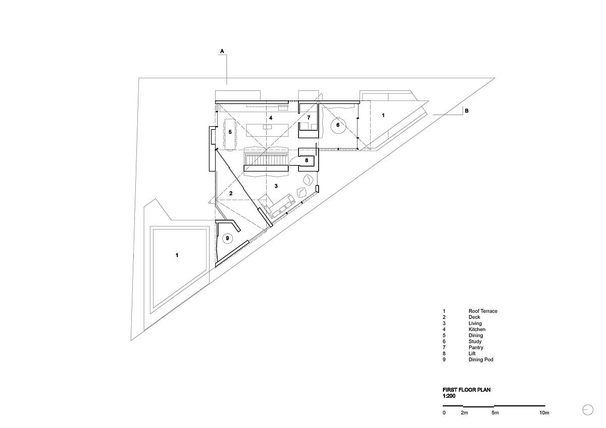 Floor plan of the first floor of the home on the triangular lot