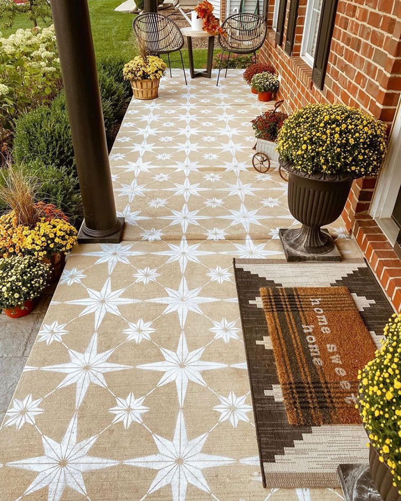 Floral design stenciled floor
