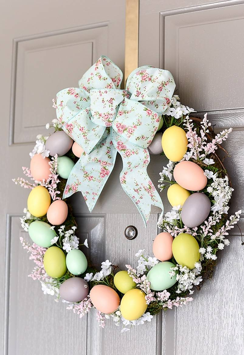 Floral easter egg wreath