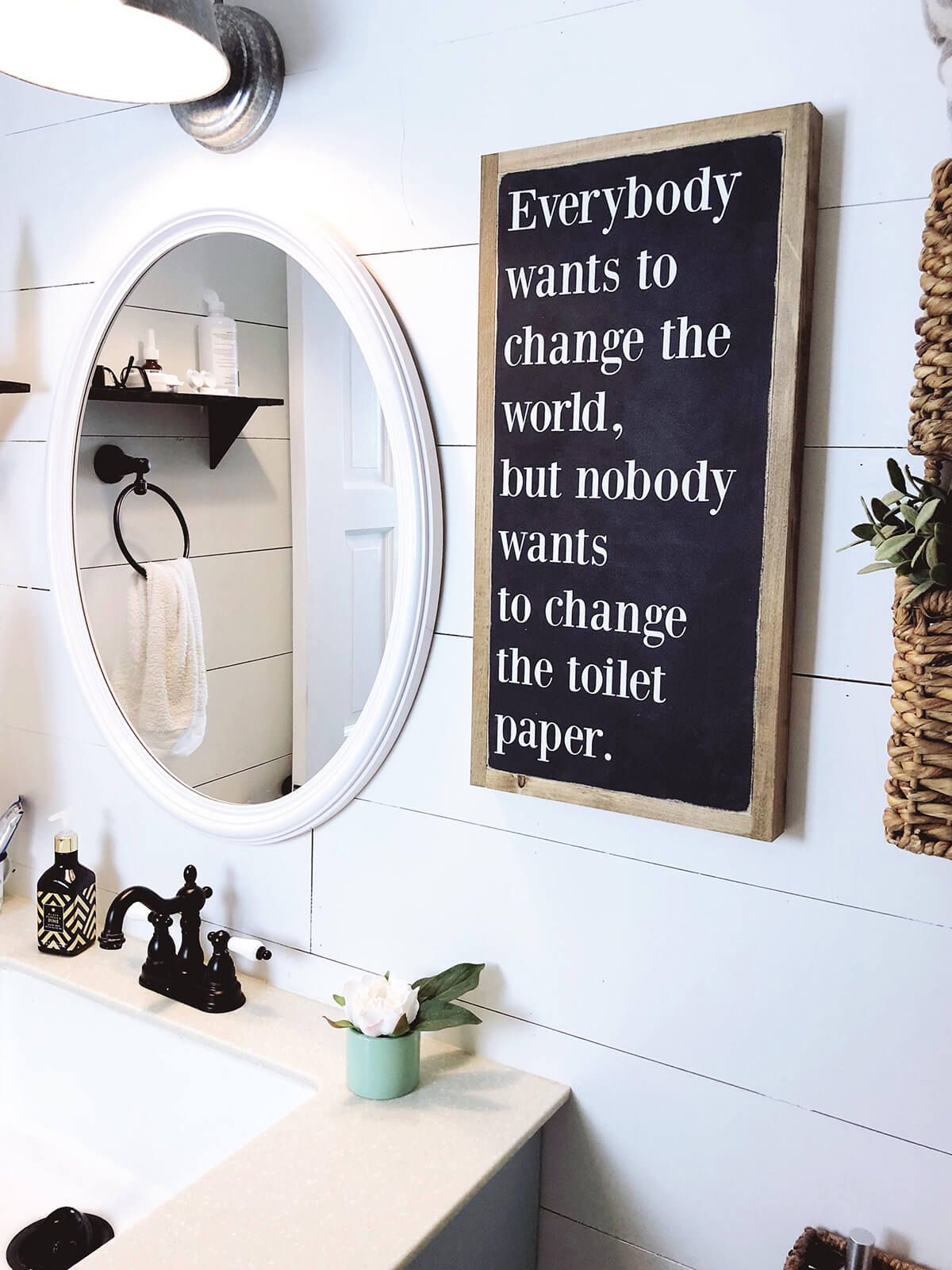 Give yourself a reminder to change the toilet paper with a fun sign in the bathroom