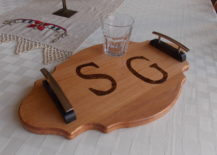 Glass on top of monogrammed wood tray with side handles