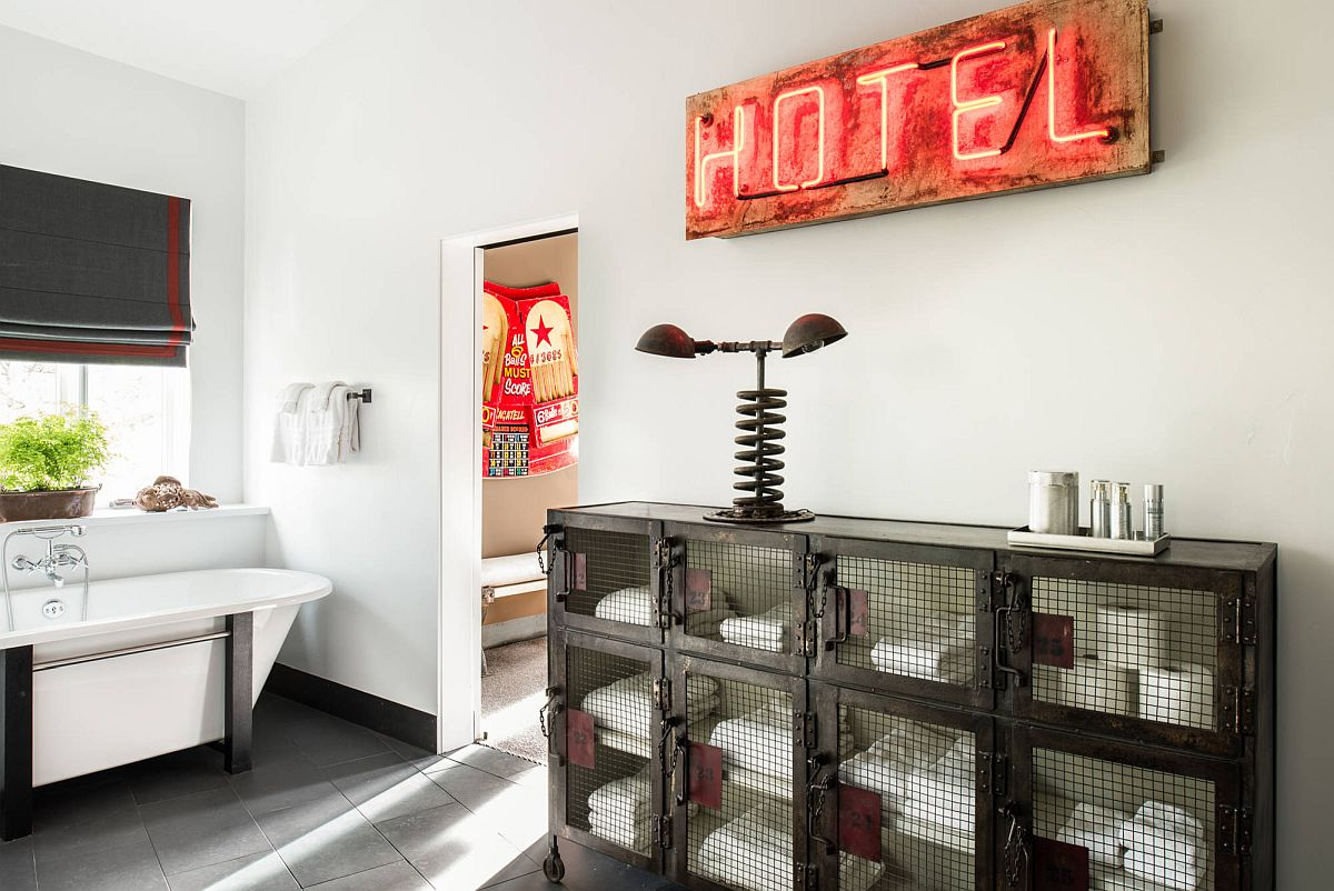 Glittering neon sign for the modern neutral bathroom with rustic touches