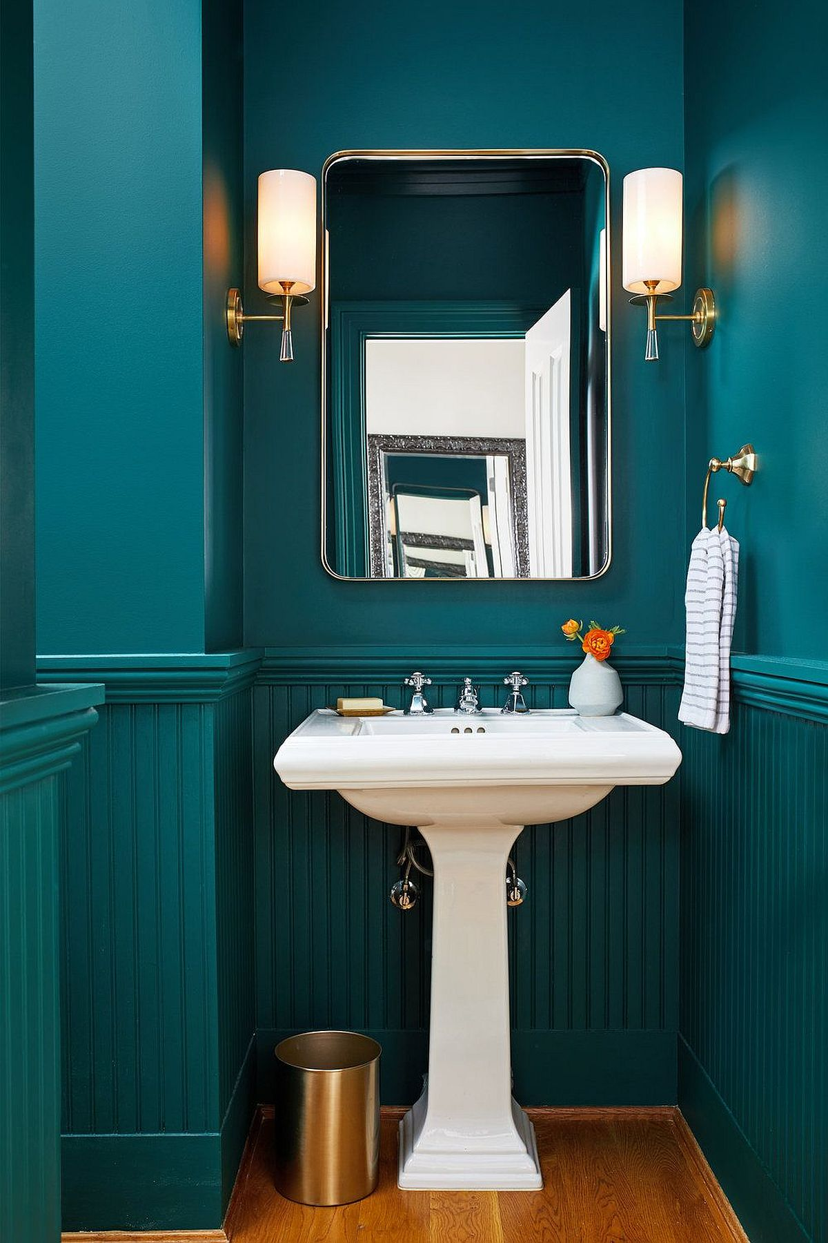 Gorgeous modern teal bathroom feels absolutely picture-perfect