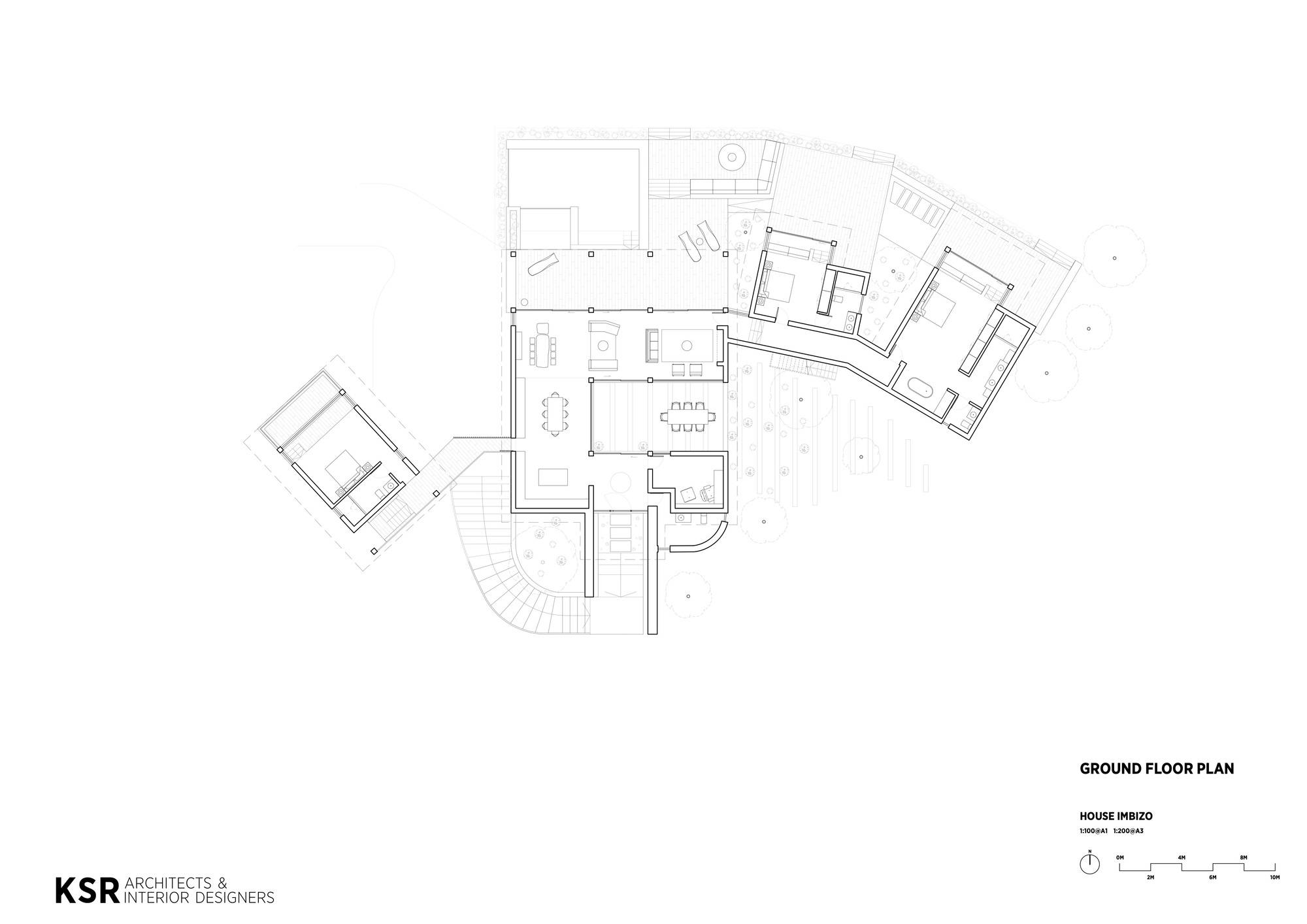 Ground floor plan of the contemporary Imbizo House