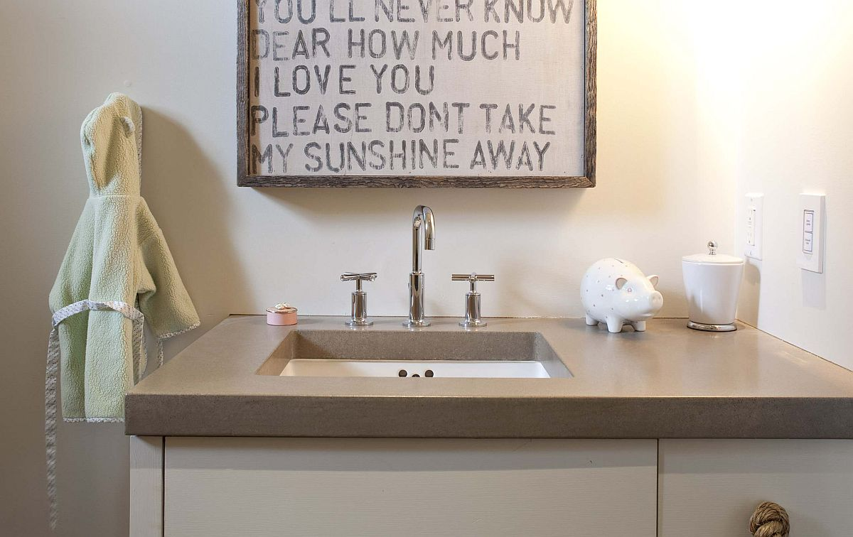 Hang that bathroom sign above the vanity in the small bathroom
