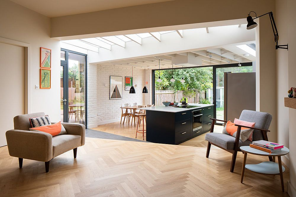 Home in London with smart new interior that has been re-oriented to create a fabulous new garden area