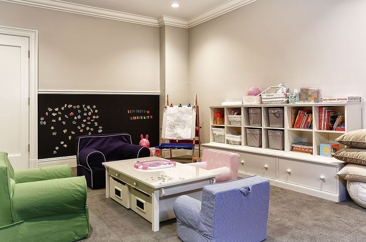 Ingenious kids' playroom with multiple toy storage options
