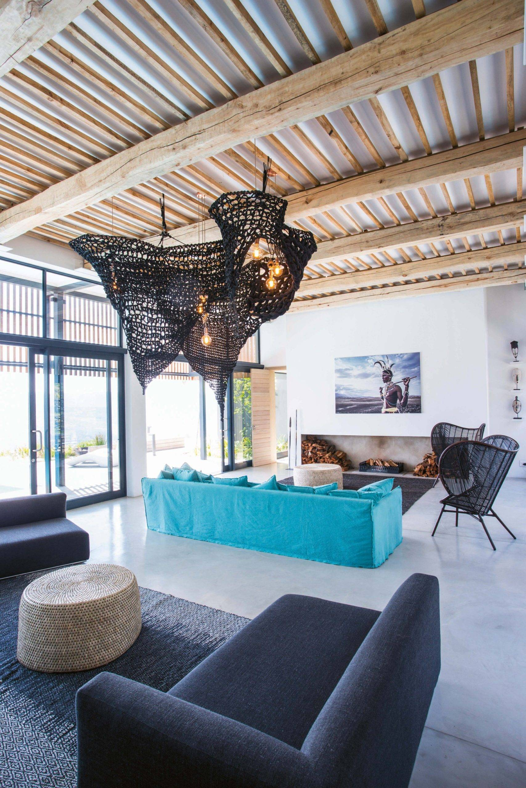 Innovative interior of the house combines design inspired by rustic African style with modernity