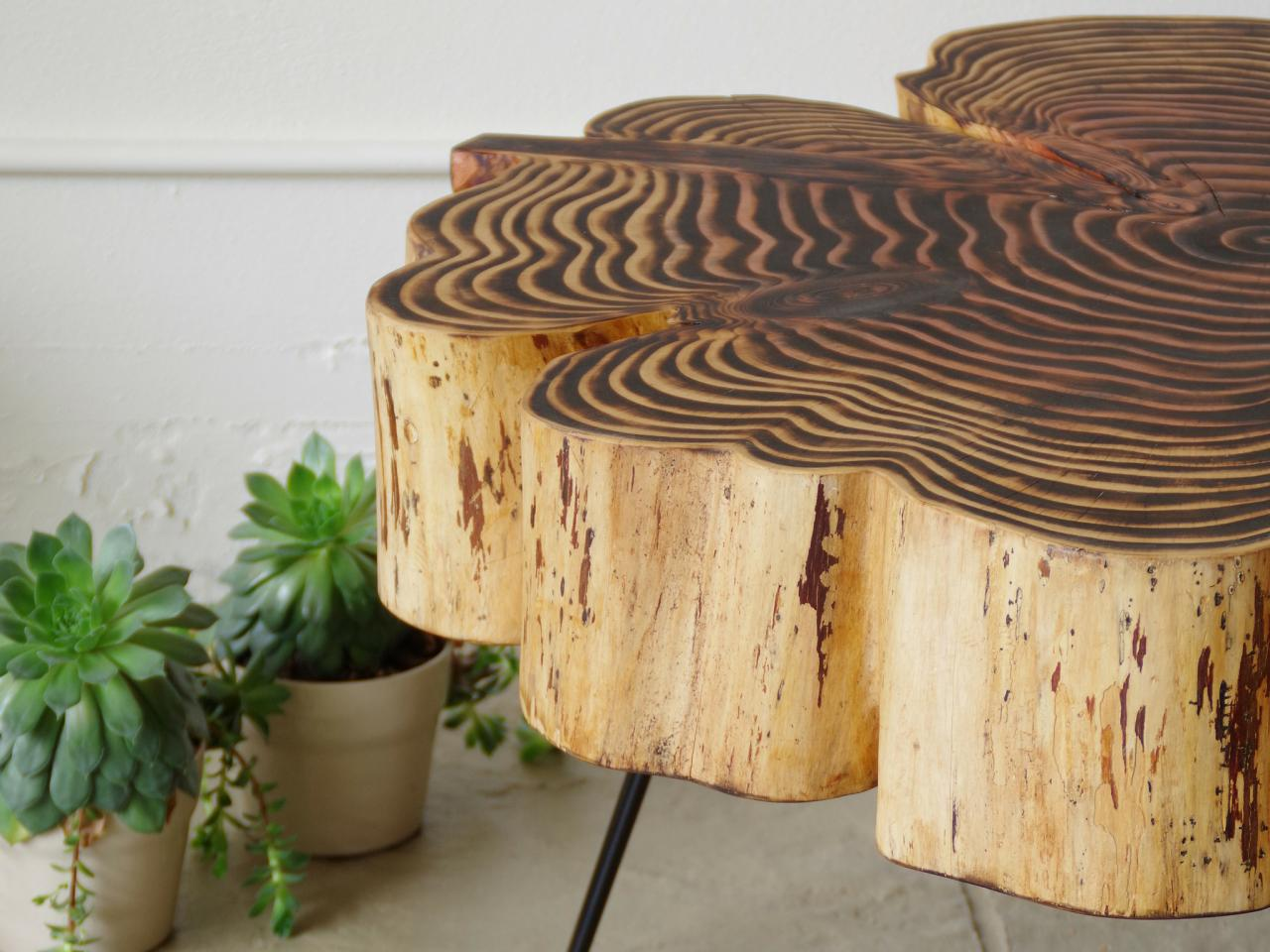 Irregular wood table with black lines