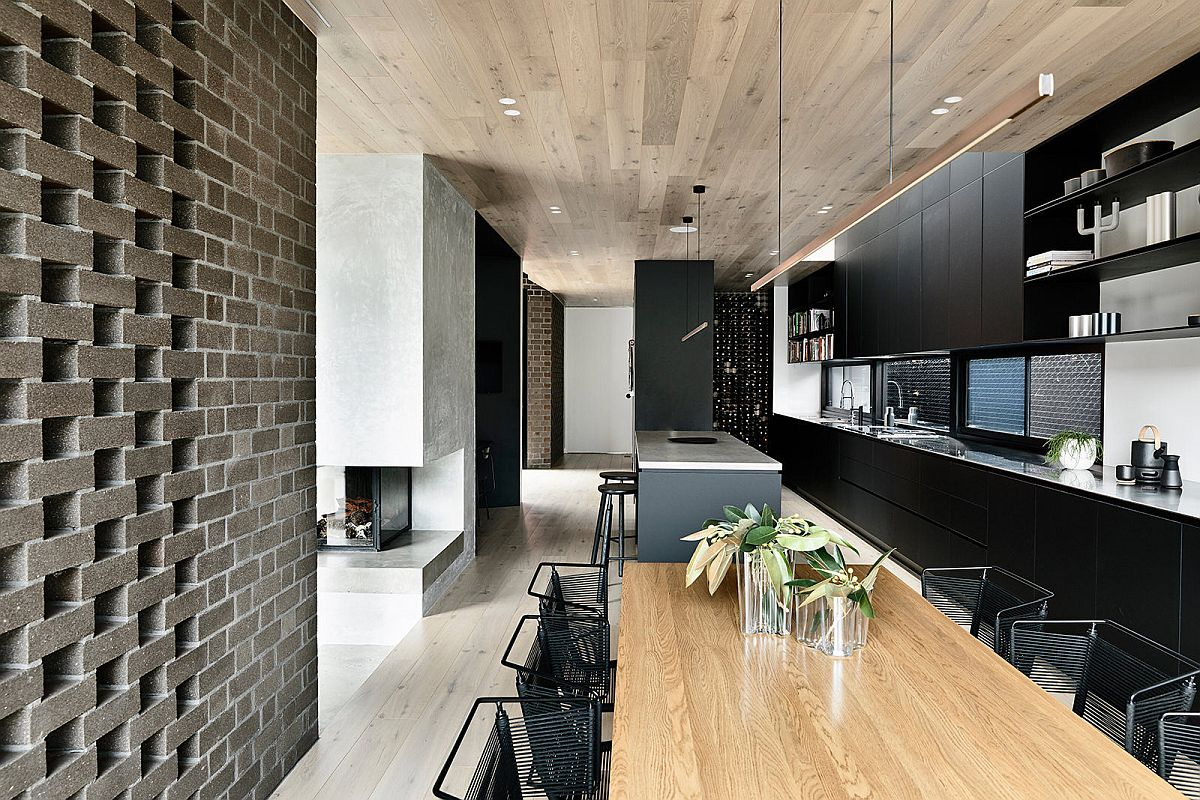 Kitchen, dining area of the new extension with smart, contemporary design