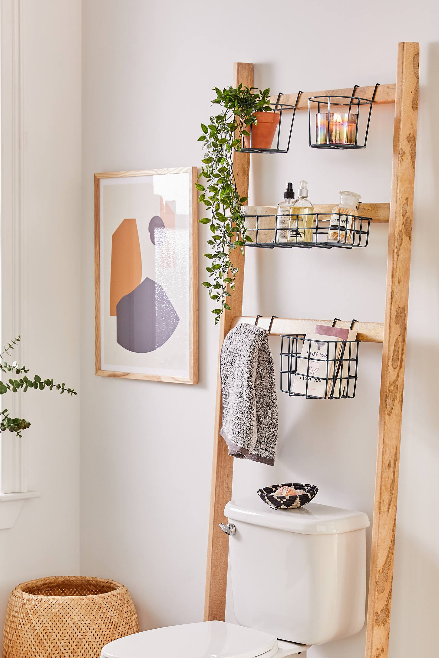 Ladder storage with metal basket above toilet