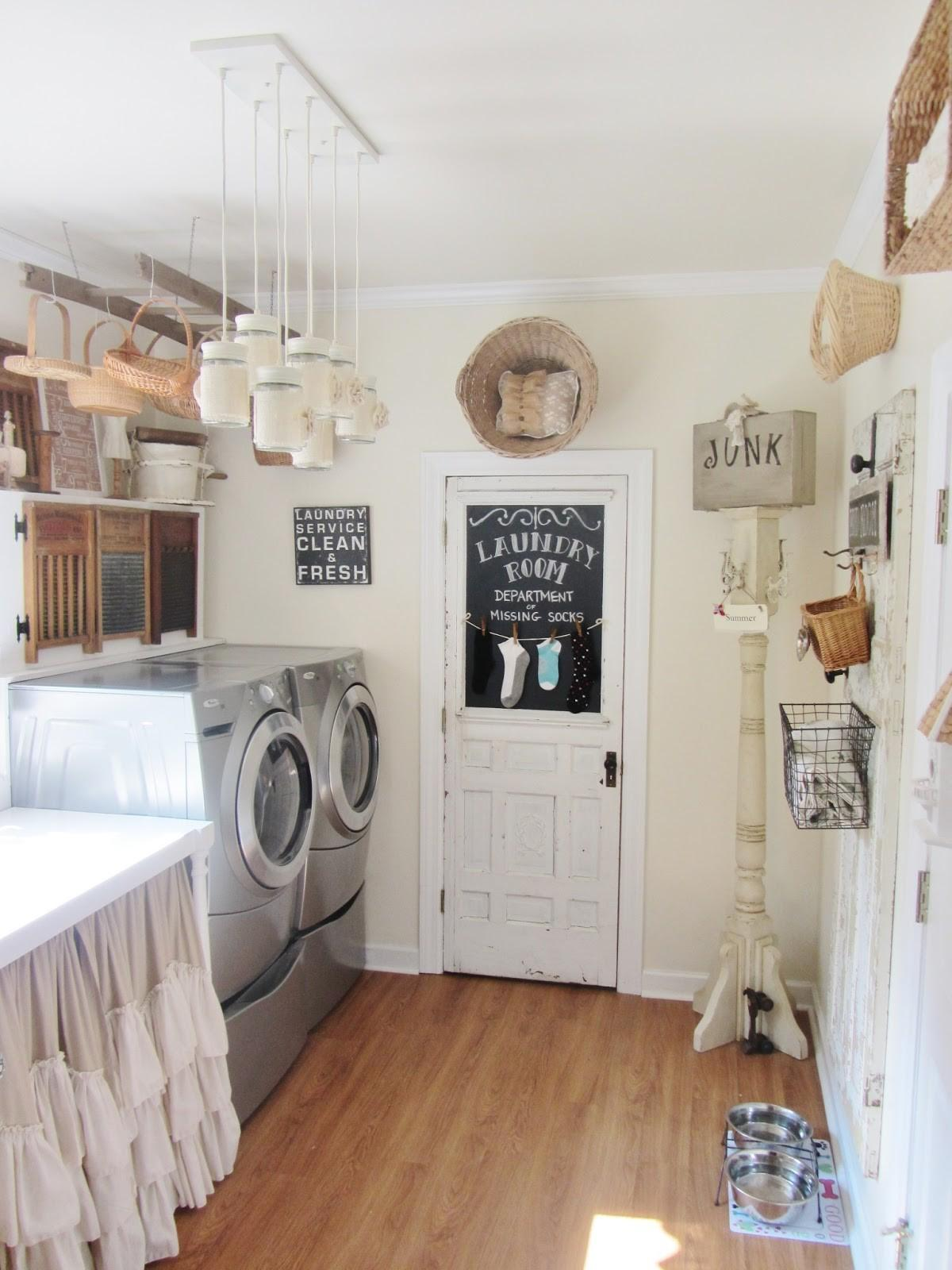 Laundry room decorated with dangling jars and baskets
