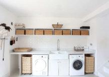 Laundry room full of wicker baskets