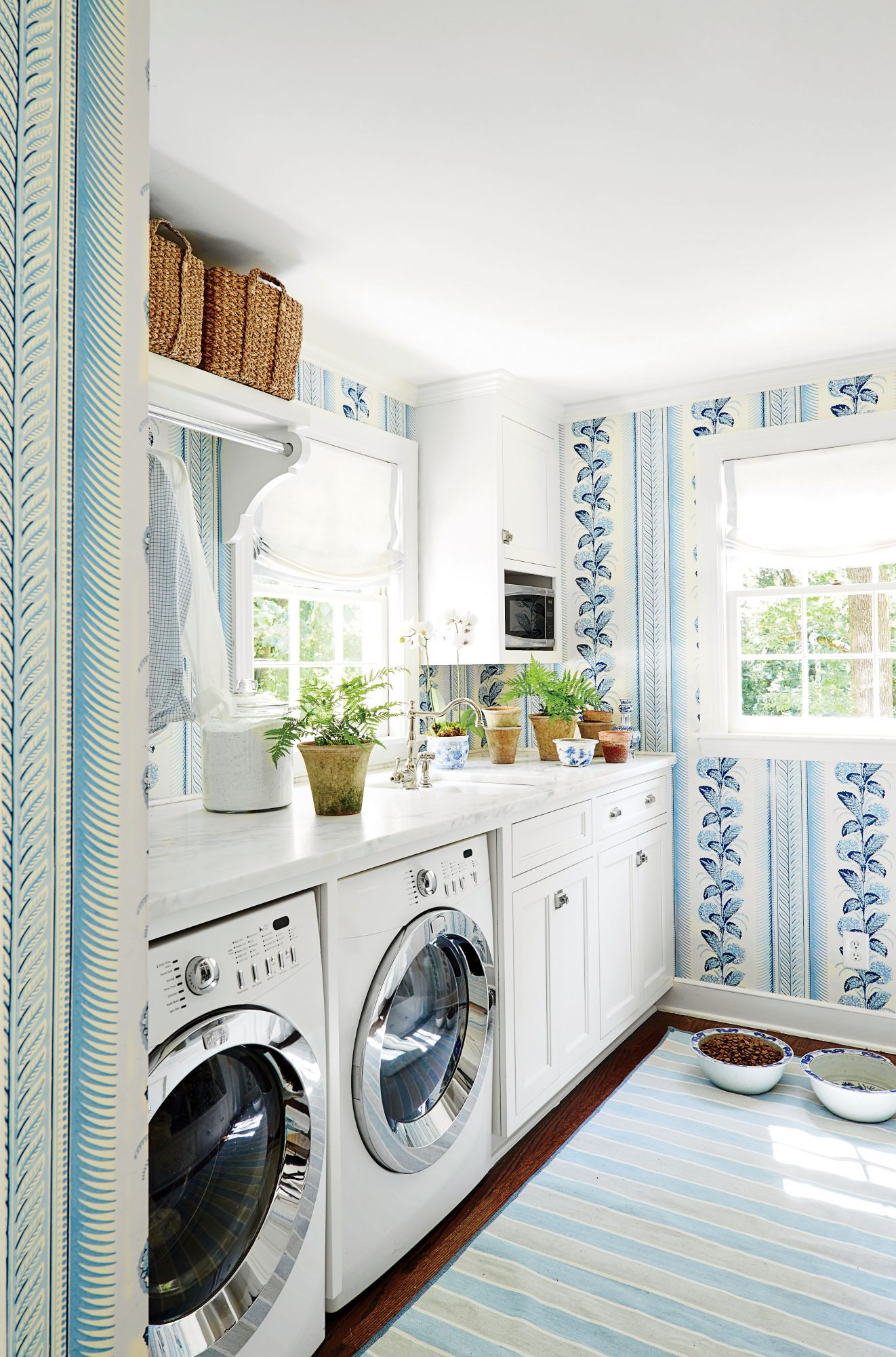 Laundry room with blue wallpaper and small potted plants