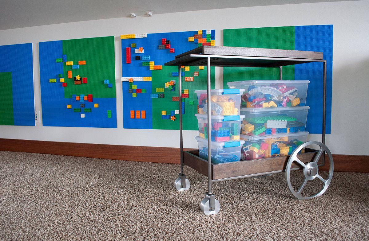 Lego cart is a fun and easy way to clean all those LEGO blocks in the kids' room