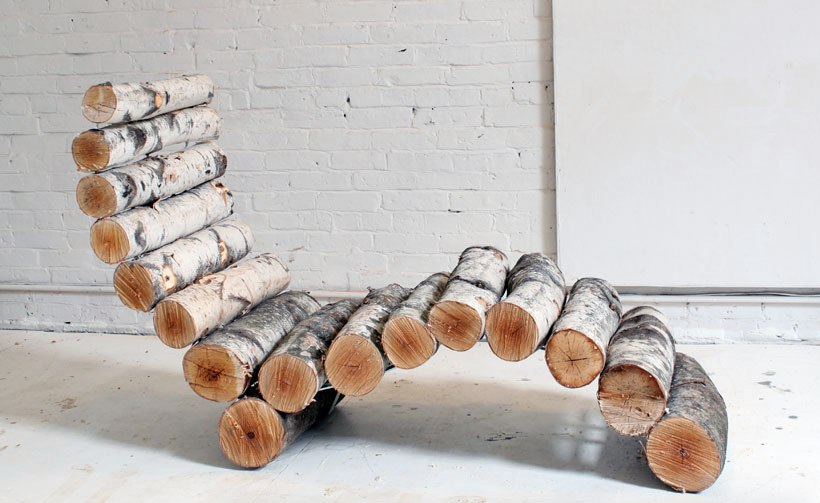 outdoor louge chair made of logs