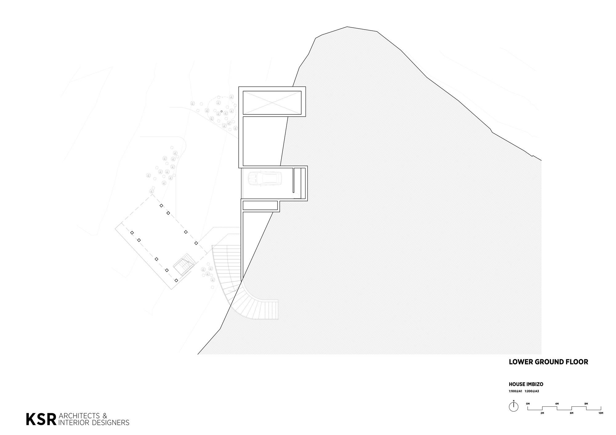 Lower ground floor plan of Imbizo House in South Africa