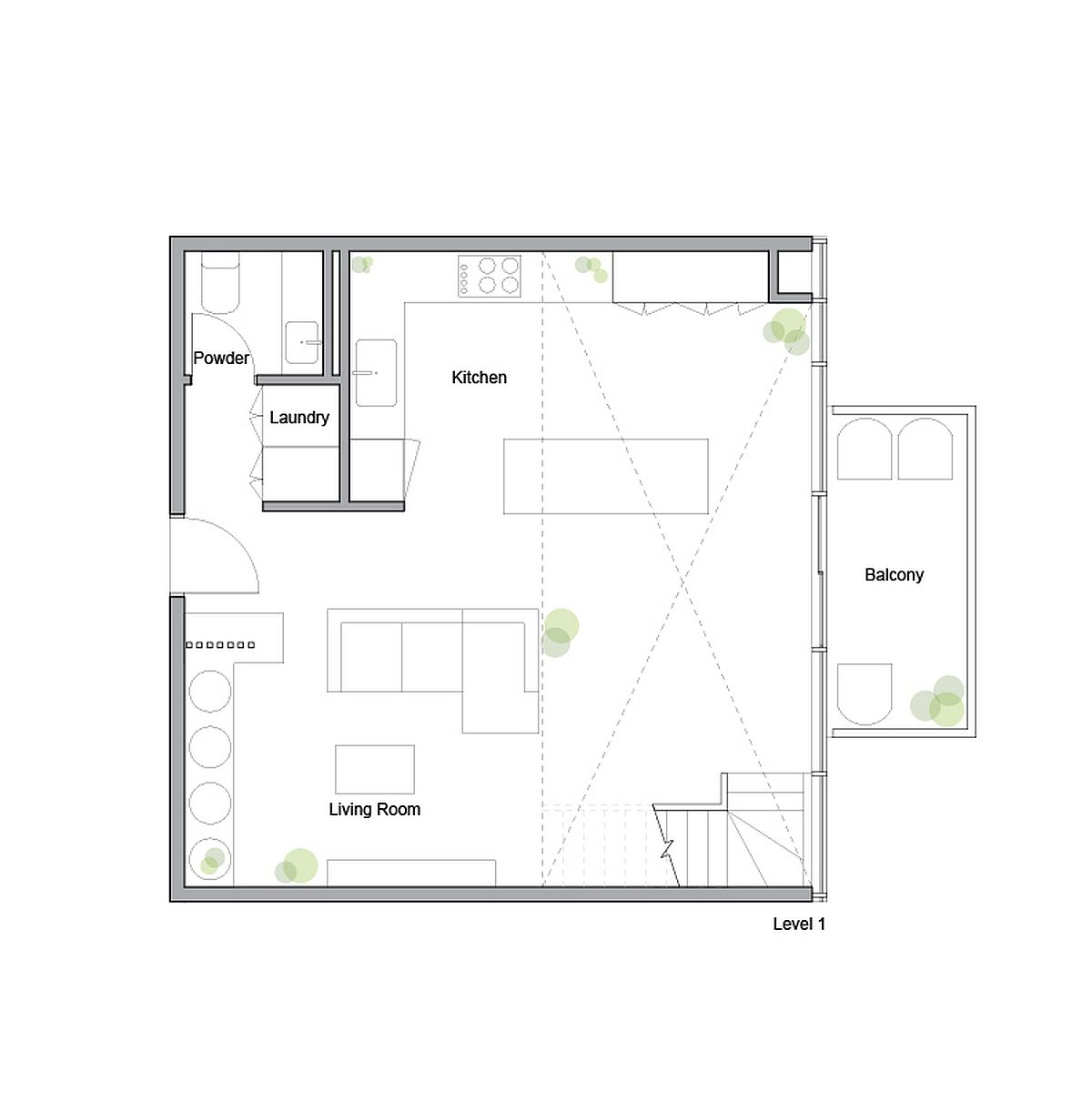 Lower level floor plan of King West Loft  designed by Studio of Contemporary Architecture