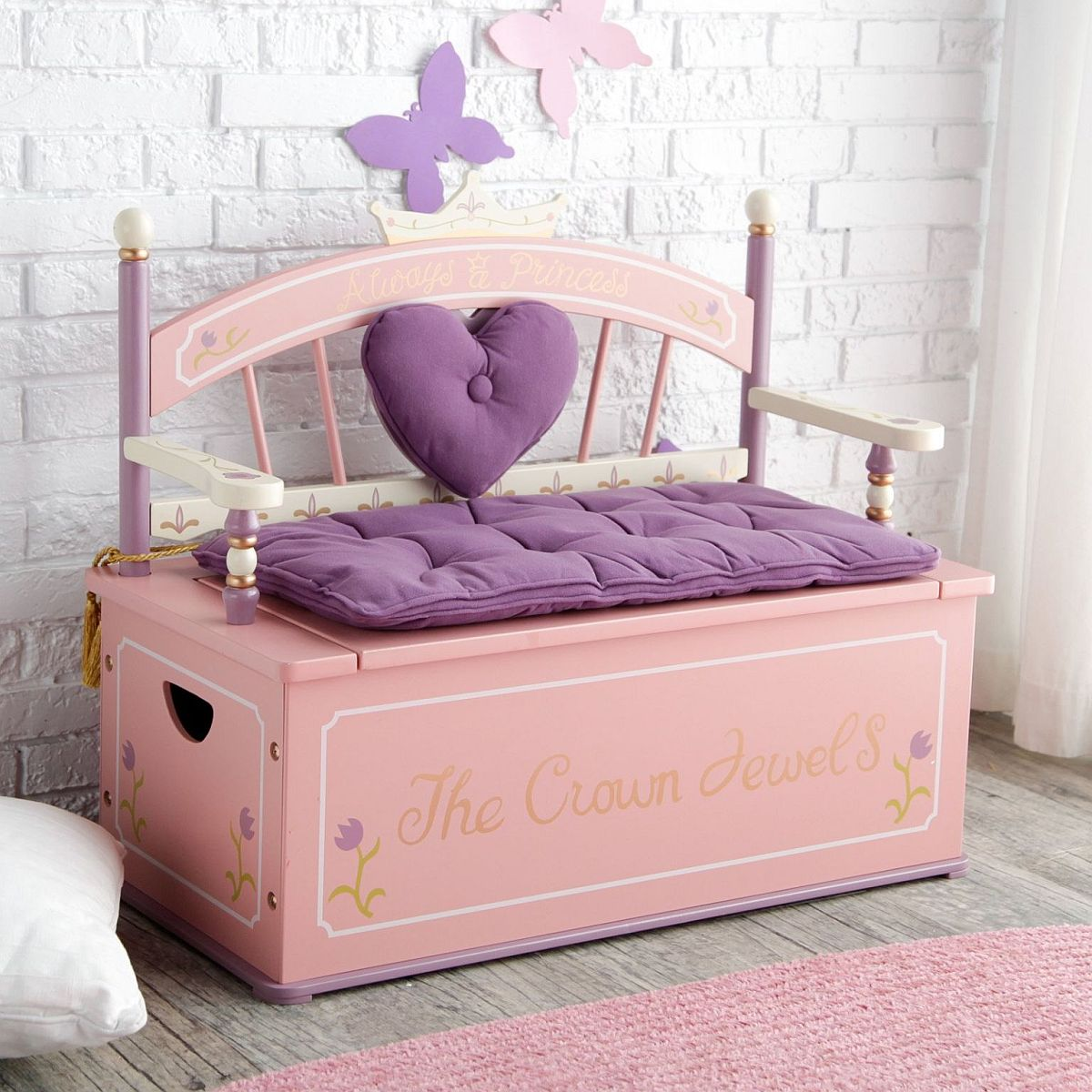 Luxurious and exquisite bench with storage underneath is perfect for the modern girls' room