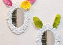 Mirror with bunny ears