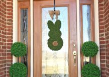 Moss bunny door decor with green potted plants on the sides