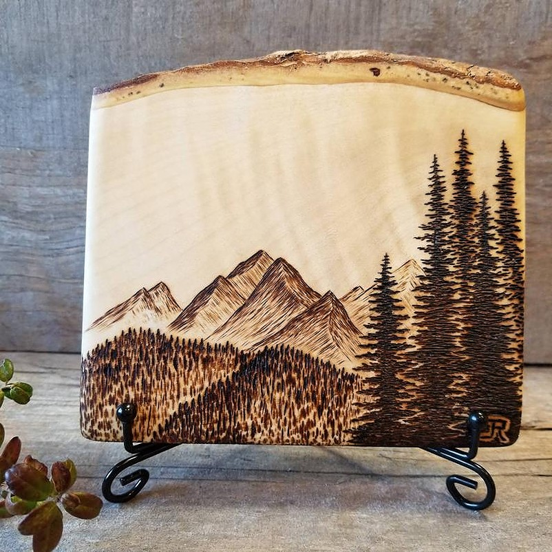 Mountain and trees burned on wood
