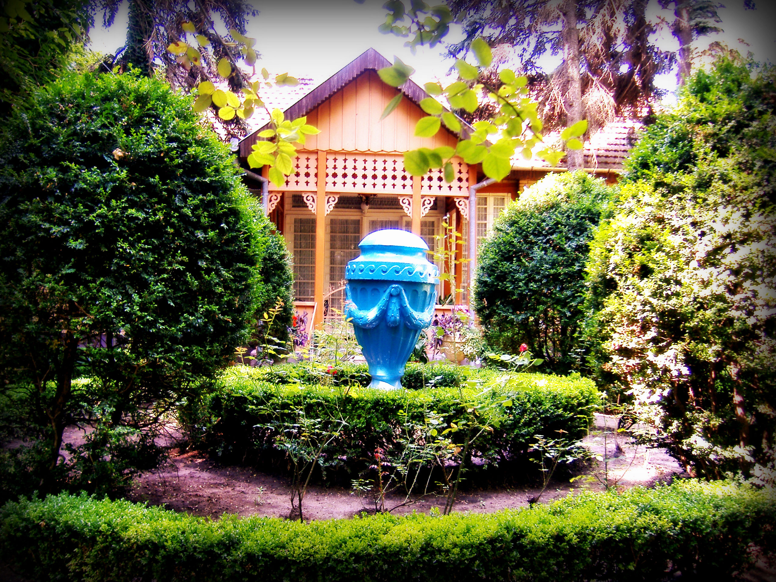 Native house with blue decoration surrounded by green plants