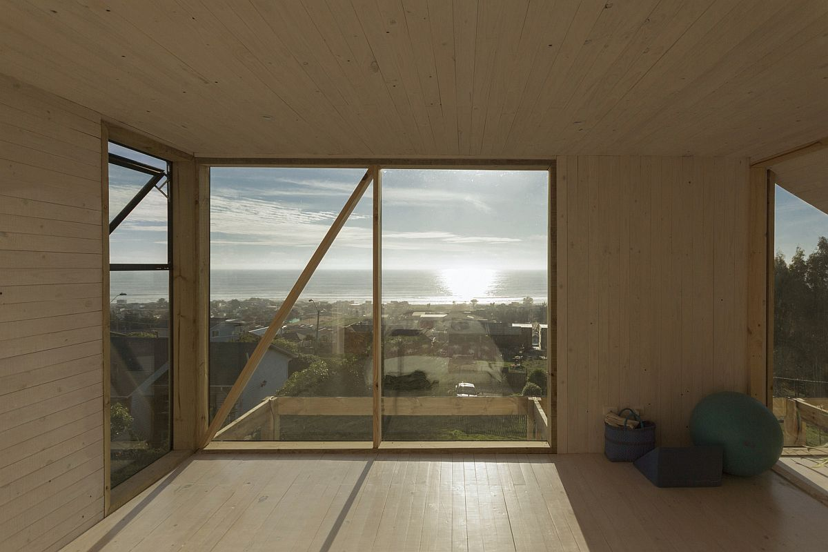 Natural light filters its way into the upper level of the house