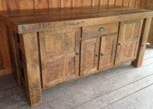 Oak wood kitchen island