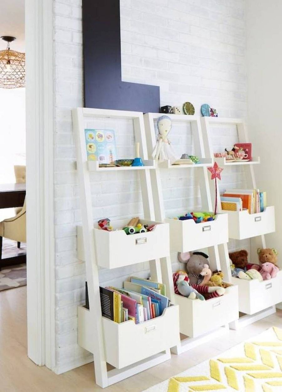 Open, ladder styled toy storage options that help tuck away all the mess in the kids' room
