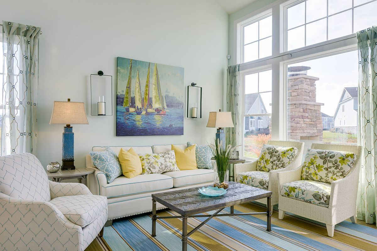 Pattern, pastel colors and an overall bright visual appeal shape a welcoming beach style living room