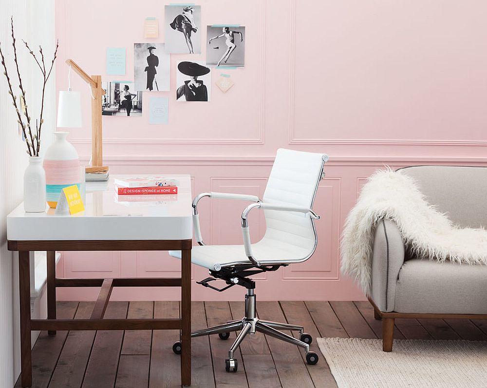 Polished modern Scandinavian home office in warm pastel pink