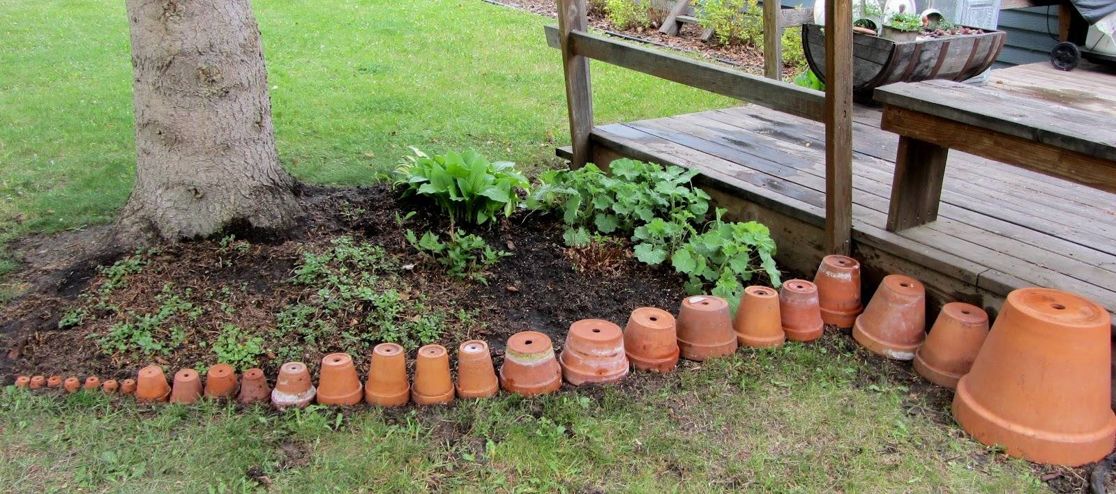 Pots lined from smallest to biggest