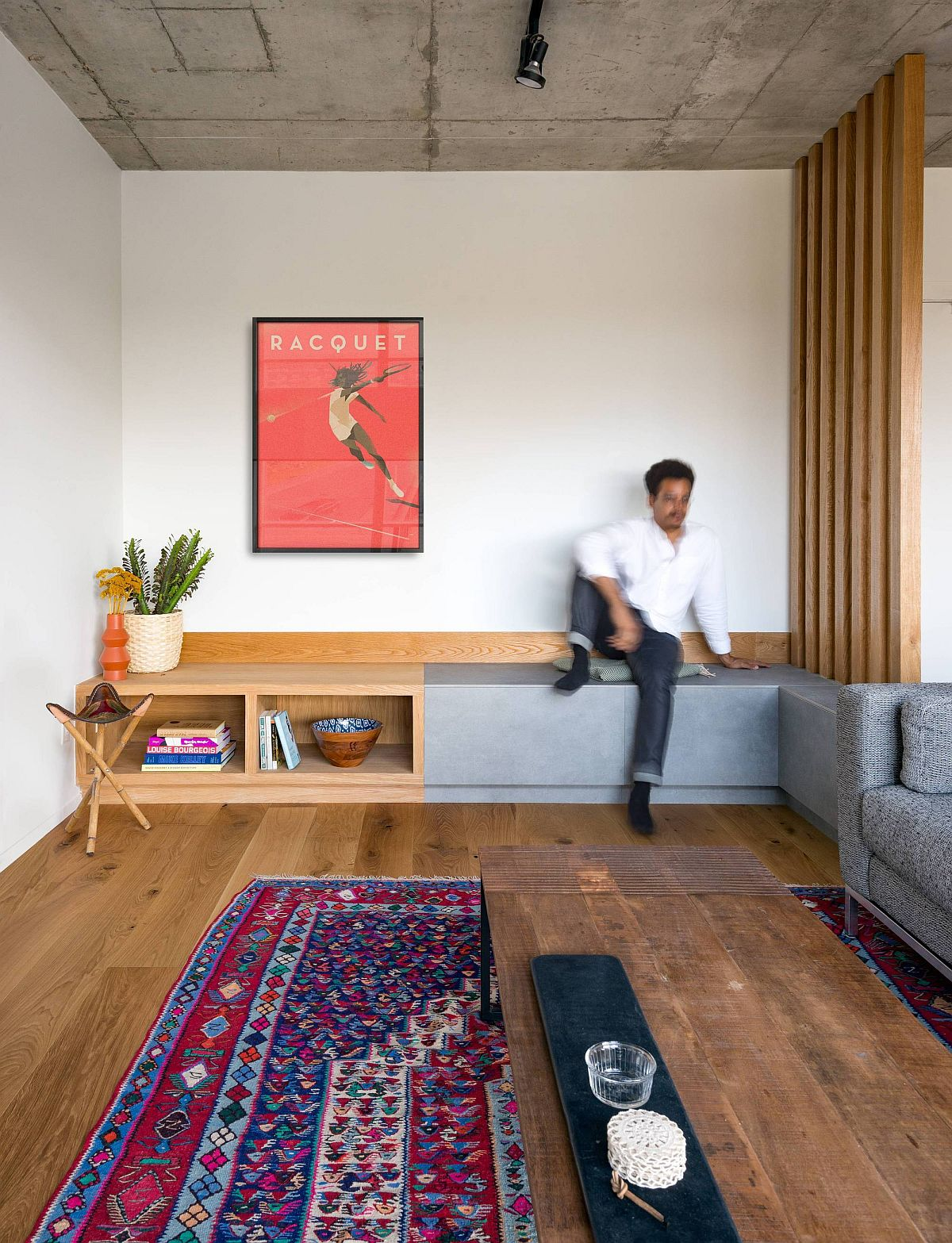 Redesigned living area of the King West Loft with smart seating