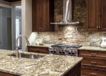 Rustic Wood and Stone Kitchen Cabinet