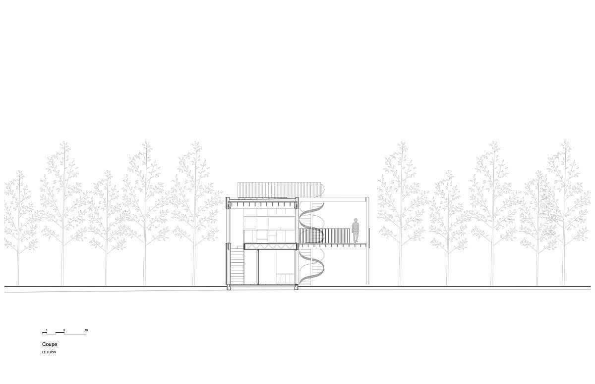 Sectional view of the modern, white Le Lupin House in Canada